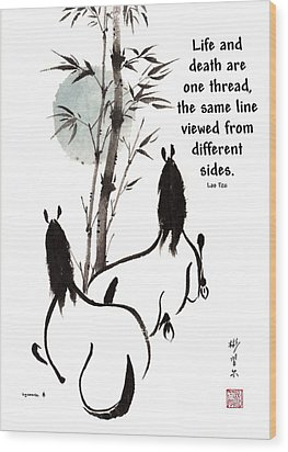 Wood Print featuring the painting Moon Reverence With Lao Tzu Quote I by Bill Searle