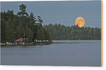 Wood Print featuring the photograph Moon Rise At The Lake by Barbara West
