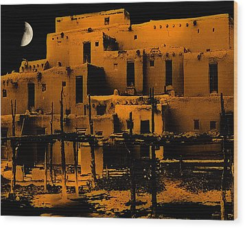 Moon Rise At The Pueblo Wood Print