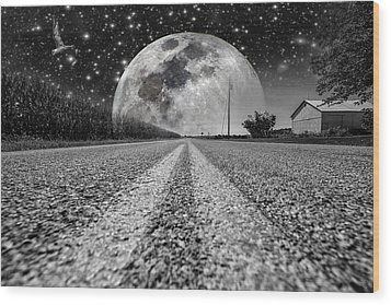 Moon Rise Country  Wood Print
