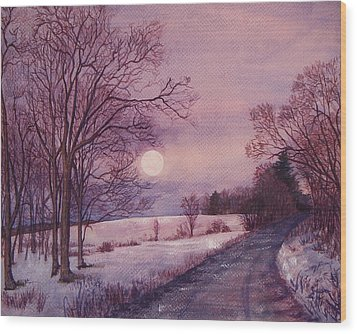 Moon Rising Wood Print by Joy Nichols
