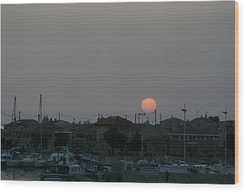 Moon Rising Over Carol South France Wood Print