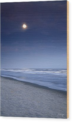 Moon Rising Over Hilton Head Wood Print by Phill Doherty