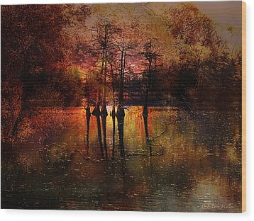 Moon Setting Over Reelfoot Lake Wood Print by J Larry Walker