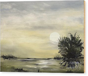 Wood Print featuring the painting Moon Shadow by Carol Sweetwood