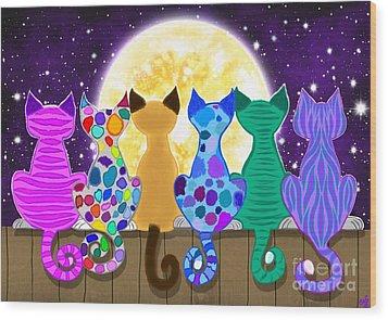 Moon Shadow Meow Wood Print