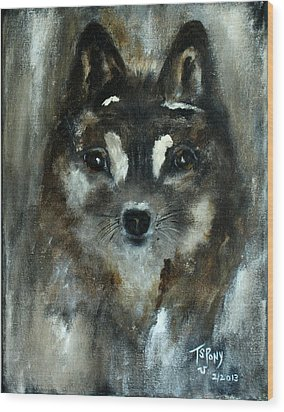 Wood Print featuring the painting Moon Shadow The Baby Fox by Barbie Batson