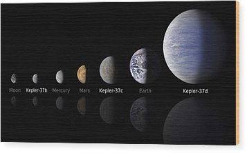 Moon Size Line Up Wood Print by Movie Poster Prints