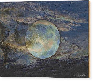 Moon Theatrics Wood Print by J Larry Walker