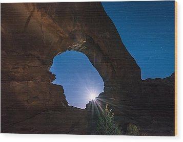 Moon Through Arches Windows Wood Print by Michael J Bauer