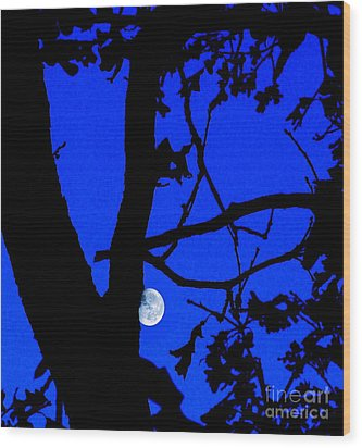 Wood Print featuring the photograph Moon Through Trees 2 by Janette Boyd
