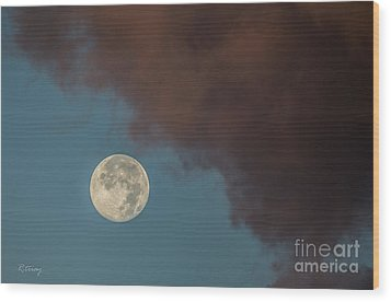 Moon Transition From Night To Day Wood Print by Rene Triay Photography