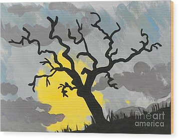 Wood Print featuring the painting Moon Tree by Marisela Mungia