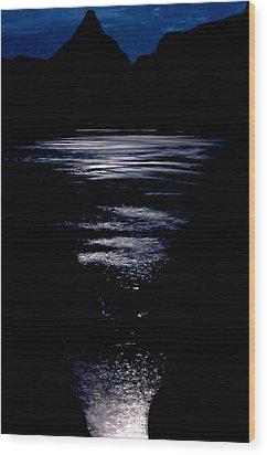 Moon Water Wood Print