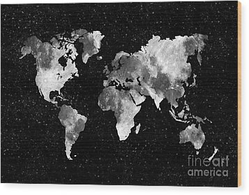 Moon World Map Wood Print by Delphimages Photo Creations