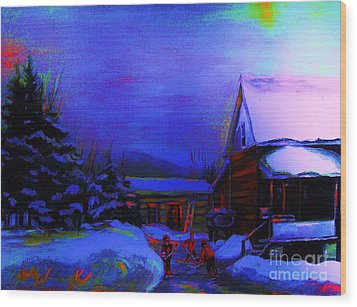 Moonglow On Powder Wood Print by Carole Spandau