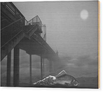 Moonlight Beach Wood Print by Larry Butterworth