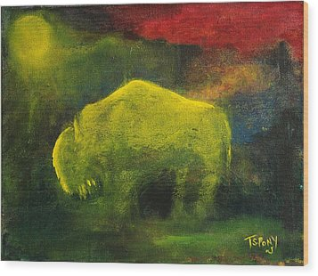 Wood Print featuring the painting Moonlight Buffalo by Barbie Batson