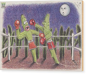 Moonlight Fight Wood Print by Cristophers Dream Artistry