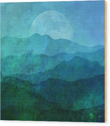 Moonlight Hills Wood Print