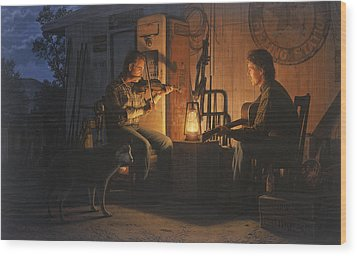 Wood Print featuring the painting Moonlight Musicians by Ron Crabb
