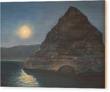 Wood Print featuring the painting Moonlight On Pyramid Lake by Donna Tucker