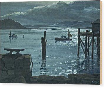 Moonlight On The Harbor Wood Print by Paul Krapf