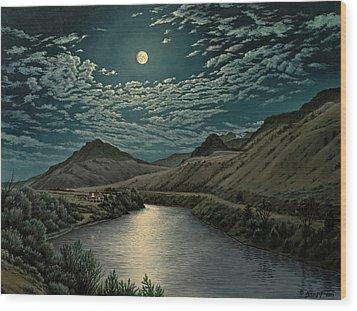 Moonlight On The Yellowstone Wood Print