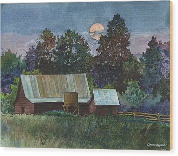 Moonlight Over Caribou Wood Print by Anne Gifford