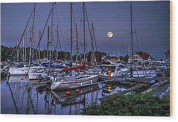Moonlight Over Yacht Marina In Leba In Poland Wood Print by Julis Simo
