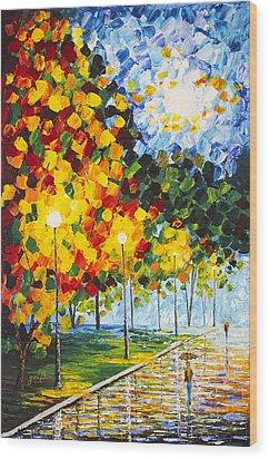 Wood Print featuring the painting Moonlight Raindrops Original Acrylic Palette Knife Painting by Georgeta Blanaru