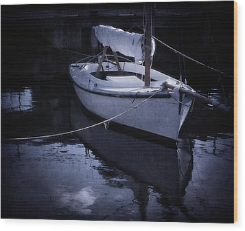 Moonlight Sail Wood Print by Amy Weiss