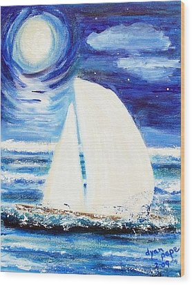 Moonlight Sail Wood Print by Diane Pape