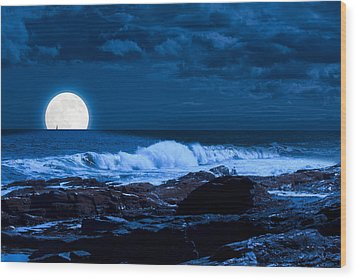 Moonlight Sail Wood Print
