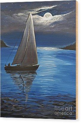 Moonlight Sailing Wood Print by Patricia L Davidson