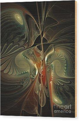 Moonlight Serenade Fractal Art Wood Print by Karin Kuhlmann