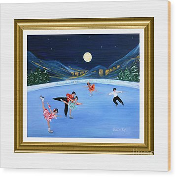 Moonlight Skating. Inspirations Collection. Card Wood Print
