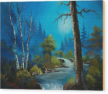 Moonlight Stream Wood Print by C Steele