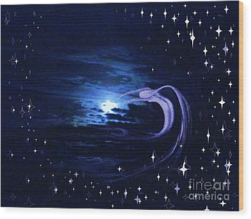 Moonlight Swim Wood Print by Jacquelyn Roberts