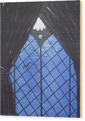 Wood Print featuring the painting Moonlight Through The Window by Martin Blakeley