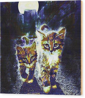 Moonlight Travelers Wood Print by Jane Schnetlage