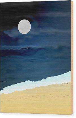 Moonlight Walk At Low Tide Wood Print by Kae Cheatham