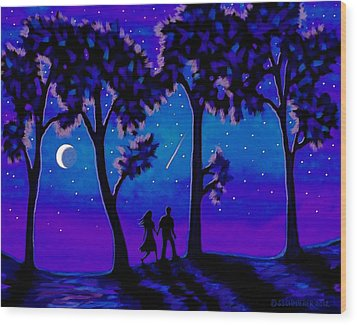 Wood Print featuring the painting Moonlight Walk by Sophia Schmierer
