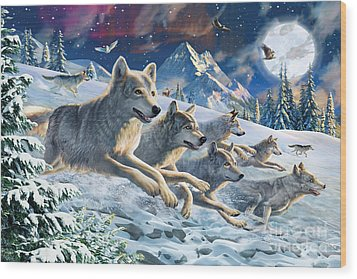 Moonlight Wolfpack Wood Print by Adrian Chesterman