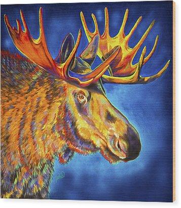 Moose Blues Wood Print