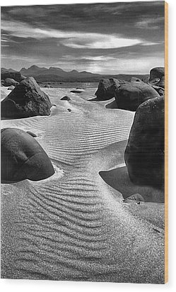 Moonlit Beach Scotland Wood Print