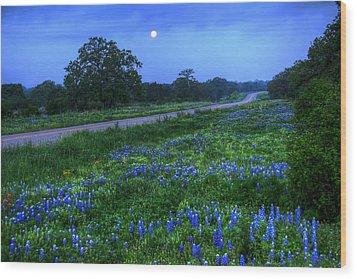 Moonlit Bluebonnets Wood Print by Tom Weisbrook