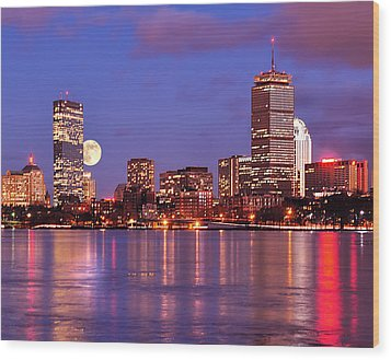 Wood Print featuring the photograph Moonlit Boston On The Charles by Mitchell R Grosky