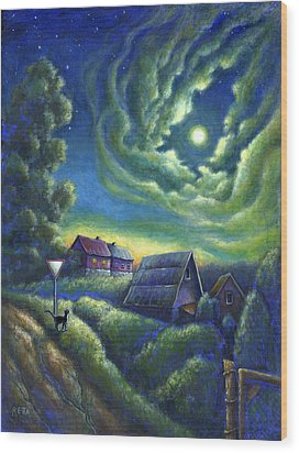 Moonlit Dreams Come True Wood Print by Retta Stephenson