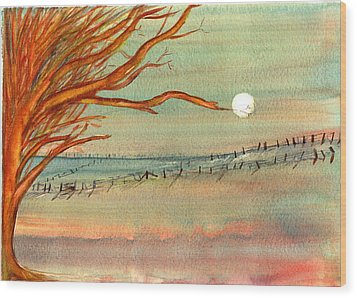 Moonlit Farmland Wood Print